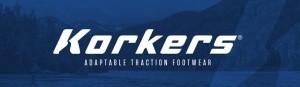 korkers web banner on blue background